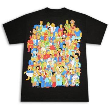 Купи Футболка Симпсон, чёрная с изображением всех героев мультфильма...