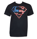 Camiseta Superman Patriotic American Flag Stars Stripes USA DC Comics