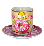 Los Simpson Taza con platillo Can´t Talk Eating
