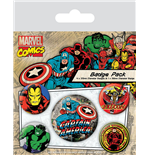 Marvel Comics Pack 5 Chapas Captain America