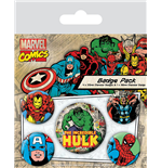 Marvel Comics Pack 5 Chapas Hulk