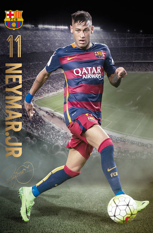 Póster Barcellona Neymar action 15/16