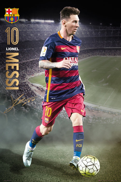 Póster FC Barcelona Messi action 15/16