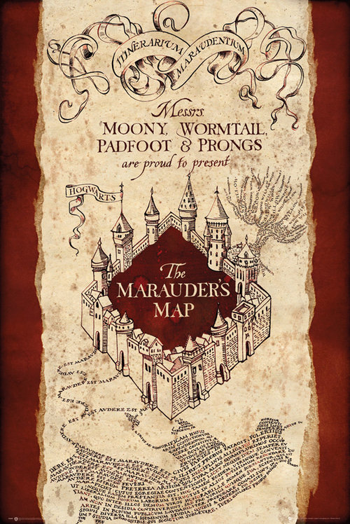 Póster Harry Potter Marauders map