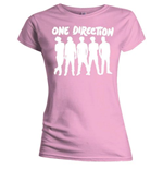 Camiseta One Direction de mujer Silhouette White on Pink