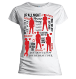 Camiseta One Direction de mujer Silhouette Lyrics Red on White