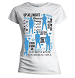 Camiseta One Direction de mujer Silhouette Lyrics Blue on White