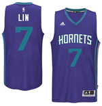 Camiseta Charlotte Hornets Jeremy Lin adidas New Swingman Alternate Morado