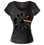 Camiseta Pink Floyd  - Acid Wash Vintage Circle Logo Black Grey