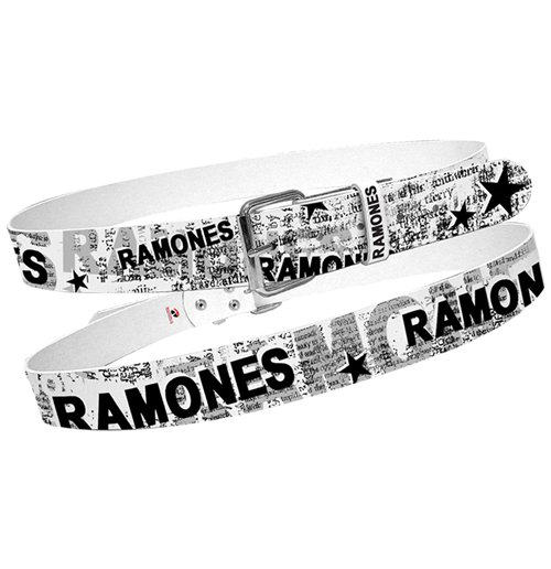 Cinturón Ramones  - White With Full News Print Collage