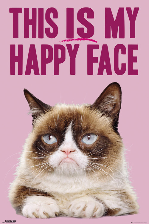 Póster Grumpy Cat Happy Face