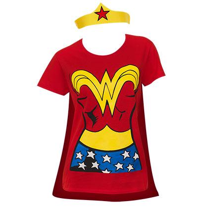 Camiseta Mujer Maravilla con capa y tiara dbdf6e807c0