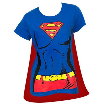 Camiseta Superman con capa de quita y pon - de mujer bcc6c604485