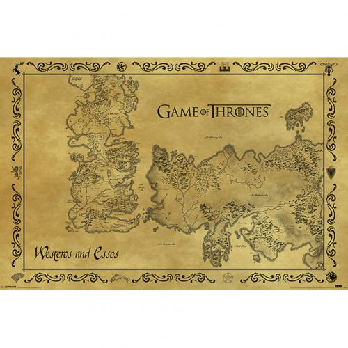 Póster Juego de Tronos (Game of Thrones) Antique Map 211