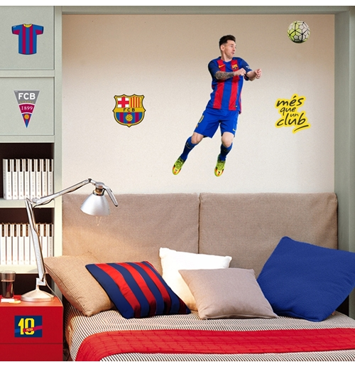 Pegatinas para pared fc barcelona messi por tan s lo 14 for Vinilos pared barcelona