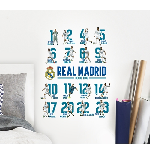 Pegatina para pared real madrid 16 players por tan s lo - Vinilos pared madrid ...