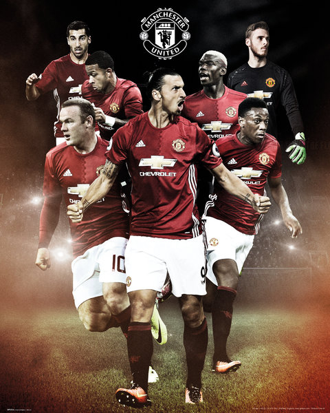 Mini Póster Manchester United Players 16/17