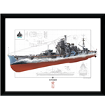 Póster enmarcado World of Warships - Atago - 30x40 Cm