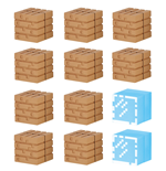 Minecraft Mine-Keshi Figuras 2 - 4 cm Block Set Wood Planks & Glass