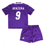 Mini conjunto Real Madrid Away 2016/17 de bebé (Benzema 9)