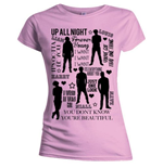 Camiseta One Direction de mujer - Design: Silhouette Lyrics Black on Pink