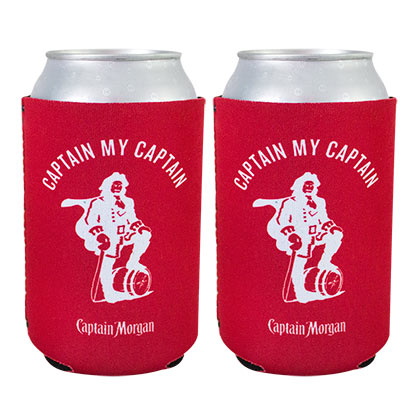 CAPTAIN MORGAN Red Beer Can Cooler Juego de 2
