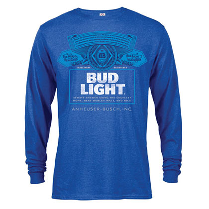 BUD LIGHT Label Camiseta manga larga hombre Heather Blue