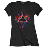 Camiseta Pink Floyd de mujer - Design: Dark Side of the Moon Pink Splatter