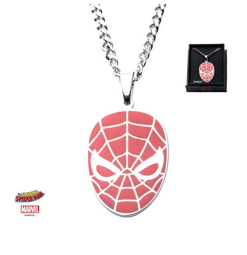Spider-Man Colgante con Collar de acero inoxidable Red Face