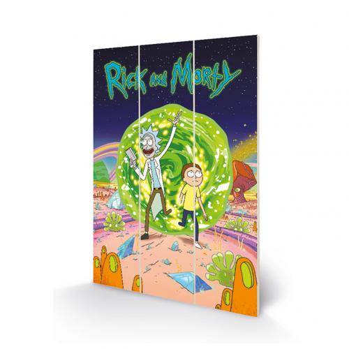Impresión en madera Rick and Morty