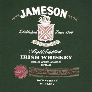 camiseta jameson whiskey logo triple distilled por tan