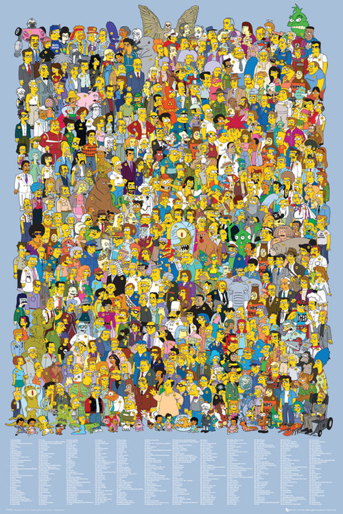 Póster Los Simpsons Cast 2012